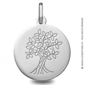 Médaille Arbre de Vie polie (Or blanc)