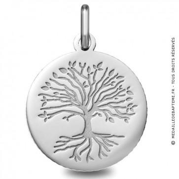 Médaille Arbre de Vie avec racines (Or blanc)