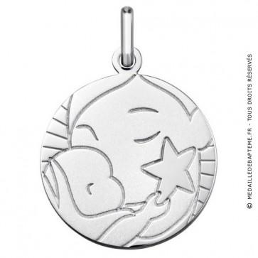 Médaille l'Enfant à l'étoile (Or Blanc 9K)
