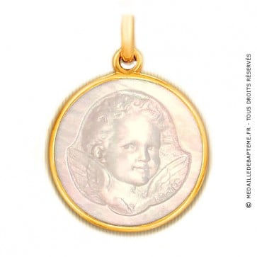 Médaille Ange Espiègle en nacre - medaillle bapteme Becker