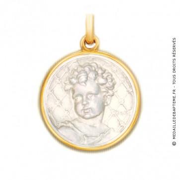 Médaille Bébé Becker en nacre - medaillle bapteme Becker