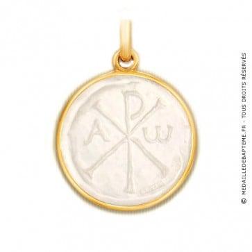 Médaille Chrisme en nacre - medaillle bapteme Becker