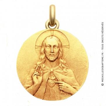 Médaille Christ Sacré Cœur - medaillle bapteme Becker