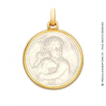 Médaille Jésus en nacre - medaillle bapteme Becker