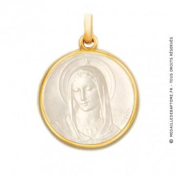 Médaille Maris Stella en nacre - medaillle bapteme Becker