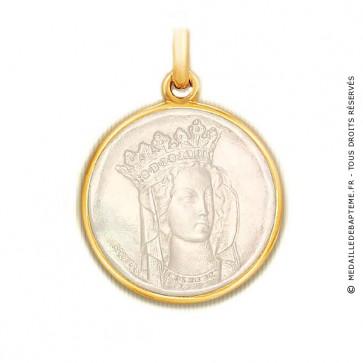Médaille Notre Dame de Paris en nacre - medaillle bapteme Becker
