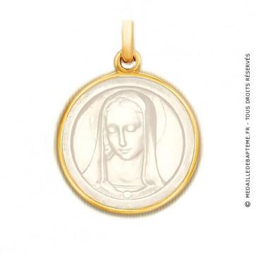 Médaille Santa Madona en nacre - medaillle bapteme Becker