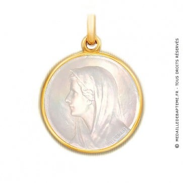 Médaille Vierge au Voile en nacre - medaillle bapteme Becker