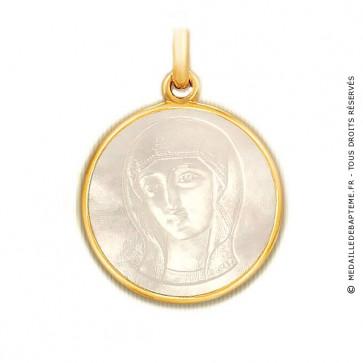 Médaille Vierge Byzantine en nacre - medaillle bapteme Becker