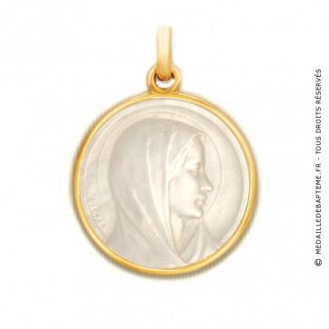 Médaille Vierge de l'Annonciation en nacre - medaillle bapteme Becker