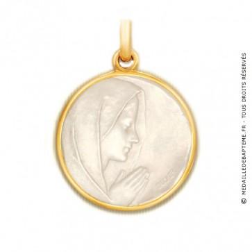 Médaille Vierge Prière en nacre - medaillle bapteme Becker