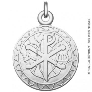 Médaille symbole Chrisme - Monogramme du Christ en argent massif