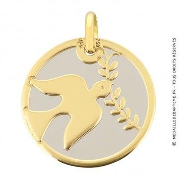 Médaille colombe et rameau (Or Jaune et acier)