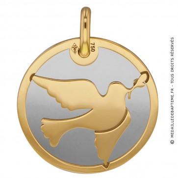 Médaille colombe (Or Jaune et acier)
