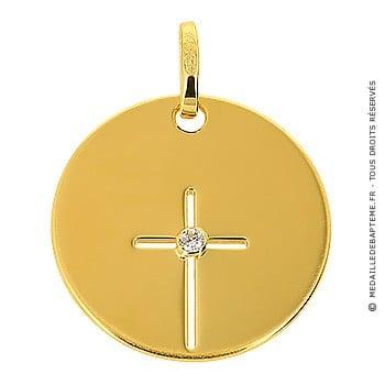 Médaille croix ajourée et oxyde (Or jaune)