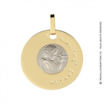 Médaille disque Ange à la Colombe (deux ors)
