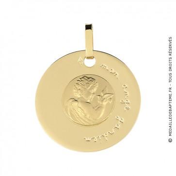 Médaille disque Ange à la Colombe (or jaune)