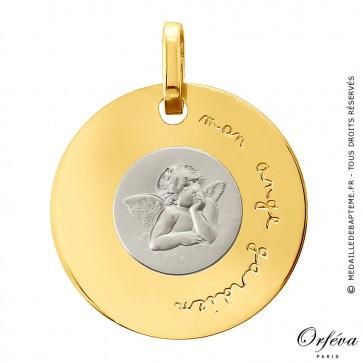 Médaille disque Ange Raphaël (disque en Or Jaune et jeton en Or Blanc)