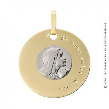 Médaille Disque Vierge en Prière (deux ors)