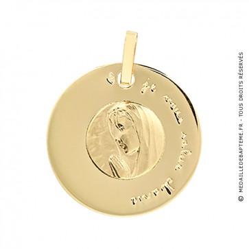 Médaille Disque Vierge en Prière (Or Jaune)
