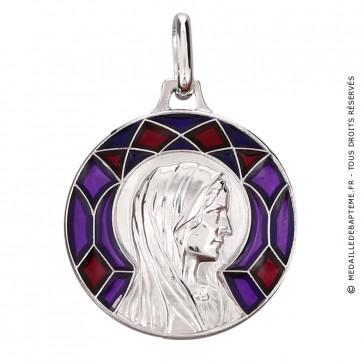 Médaille Emaillée Virgo Immaculata Rouge (Argent)
