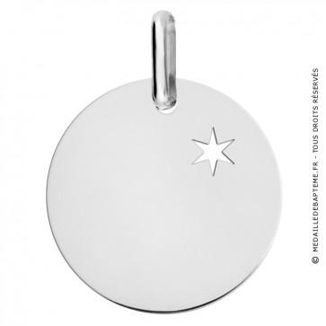 Médaille une étoile te guidera (Or blanc 9 carats)