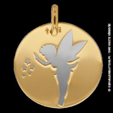 Medaille Fée Clochette (Or Jaune et AcierGris)