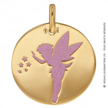 Medaille Fée Clochette (Or Jaune et Acier rose)