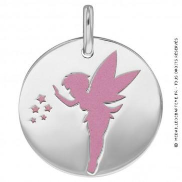 Medaille Fée Clochette (Or Blanc et Acier rose)