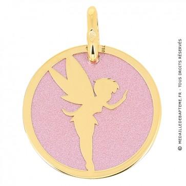 Medaille Fée Clochette (Or Jaune et Acier)
