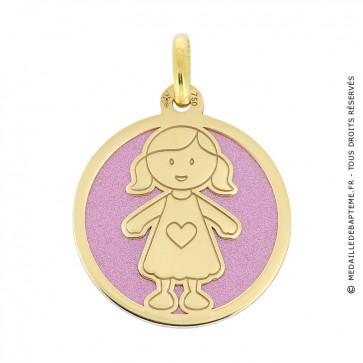 Médaille fillette sur fond rose (Or Jaune et Acier rose)