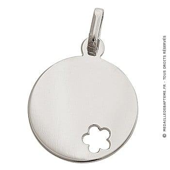 Médaille jeton fleur ajourée (Or Blanc 9K)