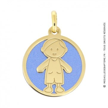 Médaille garçon sur fond bleu (Or Jaune et Acier bleu)