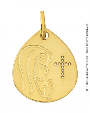 Médaille Vierge et Croix Ajourée Or Jaune 9K