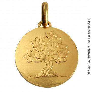 Médaille je grandirai comme un arbre (avec texte) (Or Jaune)