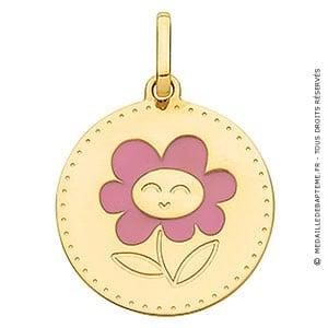 Médaille Plaque Ronde Fleur (Or Jaune)