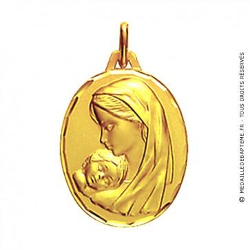 Médaille maternité profil gauche ciselée 18mm (Or Jaune)