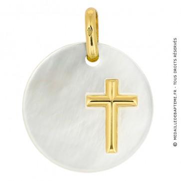 Médaille Nacre Ronde Croix (Or Jaune)