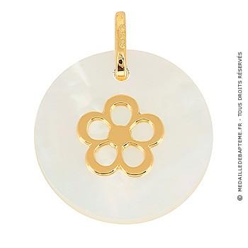 Médaille Nacre Fleur (Or Jaune)
