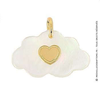 Médaille nuage nacre coeur (Or Jaune)