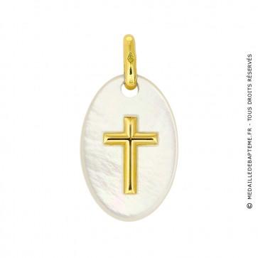 Médaille Croix Or et Nacre ovale (Or Jaune)