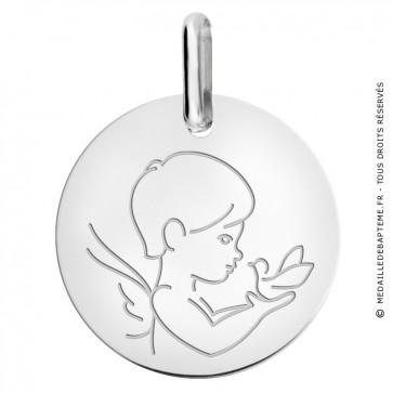 Médaille petit ange à la colombe Or Blanc 9 carats