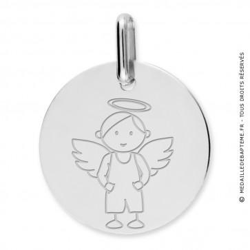 Médaille ange garçon (Or Blanc 9k)