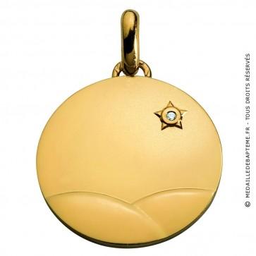 Médaille Petit Prince dans le désert (or et diamant) (Or Jaune)