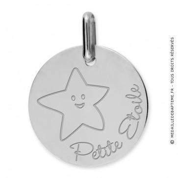 Médaille petite étoile (Or Blanc)