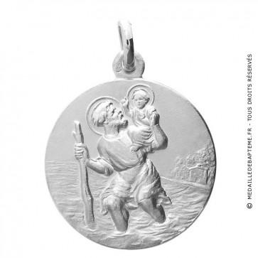 Médaille Saint-Christophe or blanc
