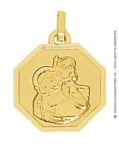Médaille St Christophe Octogonale (Or Jaune)