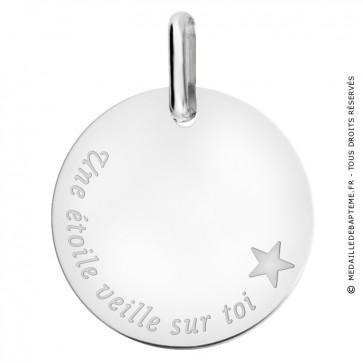 """Médaille """"une étoile veille sur toi"""" en or blanc 375/1000"""