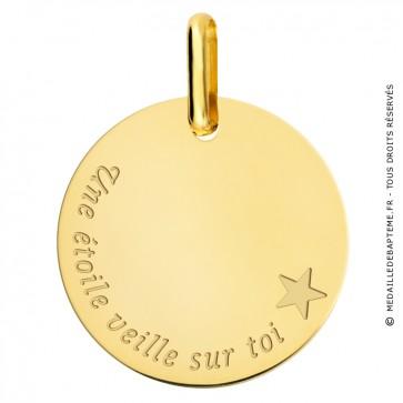 """Médaille """"une étoile veille sur toi"""" or jaune"""