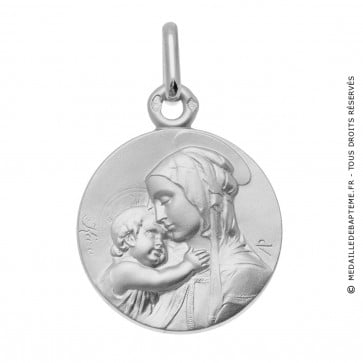 Médaille Vierge à l'enfant de Botticelli (Or Blanc)